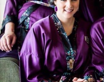 Bridesmaid Robes Purple wedding robes bridesmaid silk robe dressing gown personalized silk robe kimono robes floral robe bridal robe cheap