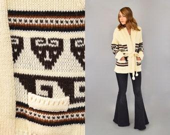 70's Chunky WRAP Cardigan Sweater