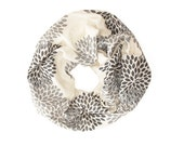 MINI INFINITY SCARF - Screen Printed - Gray Double Flowers on Cream