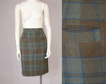"50s Vintage Plaid Wool High Waisted Pocket Skirt (XS, S; 24 3/4"" Waist)"