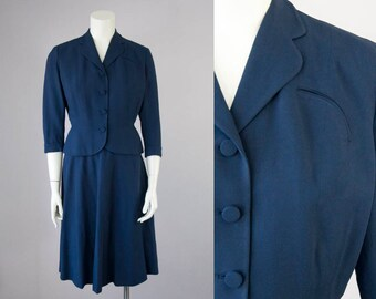 50s Vintage Navy Blue Rayon Tailored Suit with High Waist Swing Skirt (XS Petite)