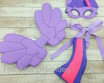 Twilight horse pony costume dress up felt set mask, tail, Pegasus wings sparkle glitter