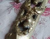 Superb pair antique French ormolu mounts c1880 laurel leaf scrolls BELLE BROCANTE Faded chateau grandeur