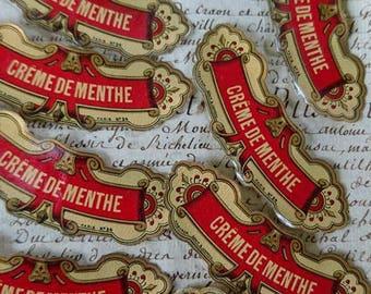 10 Gorgeous 19th century antique French gilded bottle labels  CREME DE MENTHE and Jus de Cerises  c1880 unused