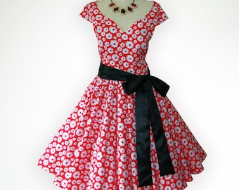 Joyful Red Adorable Daisy Floral 50s Pin up Rockabilly Swing Dress Full Swing Skirt