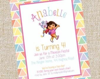 Dora fun invitation, shower invitation, birthday invitation,event, party, wedding