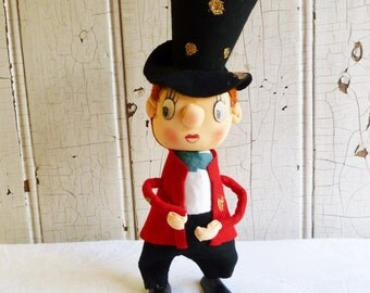 Vintage Christmas Caroler with Stocking Face - Made in Japan Pose Doll - Mid-Century 1960s
