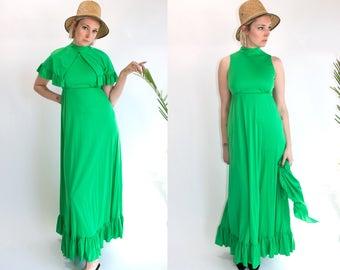 Vintage 70's Emerald Green Sleeveless Maxi Dress with Detachable Capelette Women's Medium Large Disco/Boho/Hippie/Funk