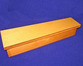 Sleek Mid-Century Modern Design, Large Blond, Graduated Wooden Box, Vintage, Dove Tail, Storage, Décor, 15 inches