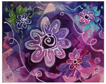 Série Fleur II  -- Blanc et Violet