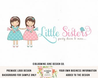 little girls logo twin girls logo party logo design boutique logo design bow shop logo bespoke logo premade logo design graphic design