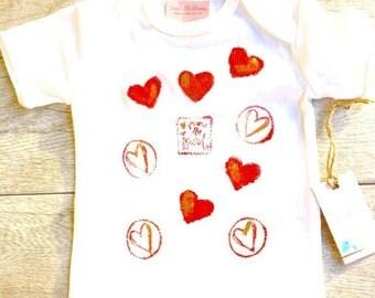 Red Hearts - Children - Girl - Gold Glitter - Hugs and Kissses - Toddler Onesie, or T-Shirt