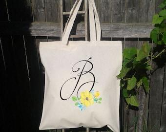 Bridesmaid Tote Bag, Monogram Tote Bag, Bridesmaid Wedding Welcome Tote Bag, Floral Wedding Tote Bag, Bridal Party Gift