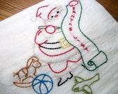 Dish Towel Christmas Dish Towel Santa Dish Towel Flour Sack Towel Cotton Dish Towel Lint Free Dish Towel Hand Embroidered Dish Towel