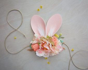 Bunny Ears Tie Back - Flower Crown Tie Back - Baby Girl Toddler Bunny Ears Tie Back - Great Photo Prop