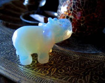 CRYSTAL Lucky Mini ELEPHANT Statuette Opalised MOONSTONE