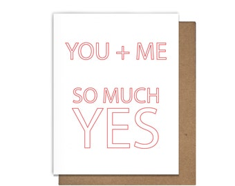 Love So Much Yes Letterpress Greeting Card Anniversary Valentines