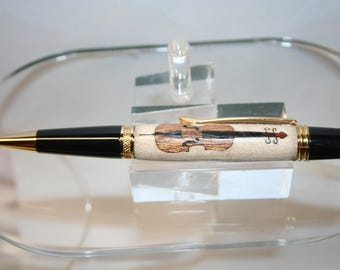 Handcrafted Wooden Pen - Cello Inlay Executive Twist Pen in 24 ct Gold Finish