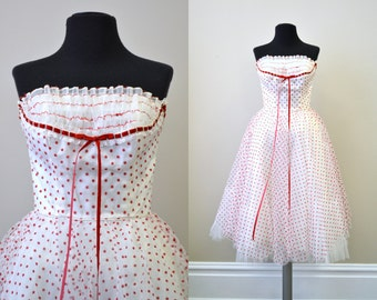1950s Sweetheart Polka Dot Tulle Dress