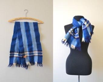 1940s Botany Blue Plaid Wool Scarf
