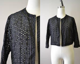 1950s Black Cotton Eyelet Jacket