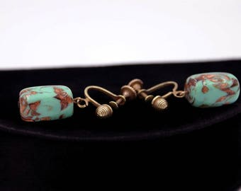 Venetian Glass Bead Earrings, Lampworked Green and Gold Beads