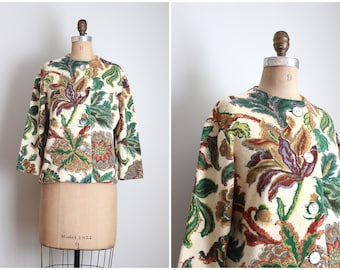 vintage 1950s printed floral wool cardigan sweater - 50s printed cardigan / Pearl Ford - forest green floral sweater / classic 50s sweater