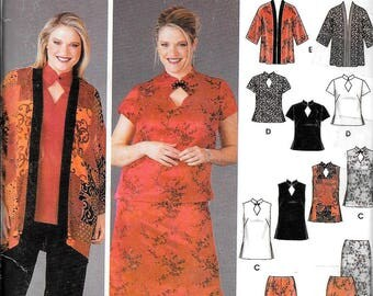 Simplicity 5360 Chongsam Dress Oriental Asian Kimono Tunic Top Pant Skirt Sewing Pattern UNCUT Plus Size 18W, 20W, 22W, 24W