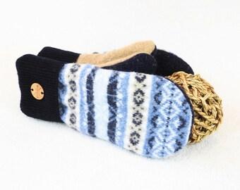 Sweater Wool Mittens DARK & LIGHT BLUE Fair Isle Sweater Wool Felted Wool Mitts Fleece Lined Wool Gloves Unisex by WormeWoole