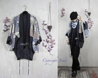 Vintage Haori, Petite size jacket, silk Haori, kimono jacket, beaded jacket, boho kimono, bohemian jacket, wearable art, short kimono