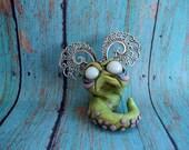 Grizelda the Grumpy Worm polymer clay original art sculpture Covington Creations