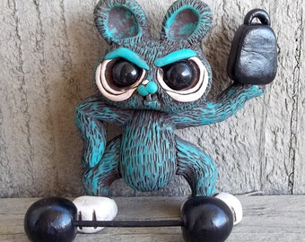 Blue Bunny Strong Man Stan, Circus Side Show, Polymer Clay Sculpture,Covington Creations,OOAK,Original Art,Collectible