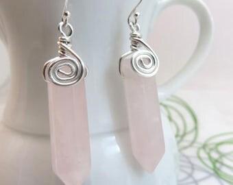Rose quartz earrings -  wire wrapped gemstone earrings - pink earrings - point crystal earrings - sterling silver ear hooks