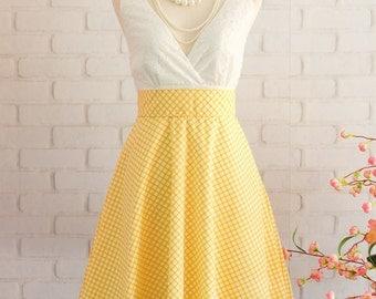 Yellow Dress Yellow Plaid Dress Yellow Prom Dress Yellow Party Dress Yellow Bridesmaid Dresses Yellow Sundress White Lace Top Dress
