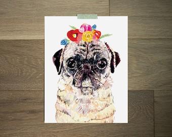Pug art, Flower pug print, Watercolor Floral pug, pug wall art, Little girls wall art, gallery wall art 8x10