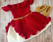 Elena of Avalor Inspired Costume/Crochet Princess Elena Dress/Elena of Avalor/Princess Photo Prop Newborn to 18 Months- MADE TO ORDER