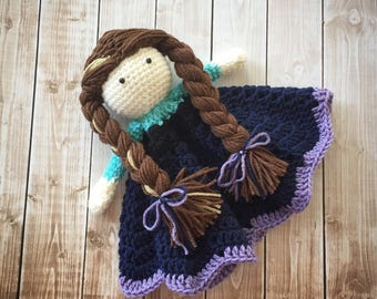 Anna Inspired Lovey/ Security Blanket/ Stuffed Toy Doll/ Plush Toy/ Soft Toy Doll/ Amigurumi Doll/ Frozen Doll-  MADE TO ORDER
