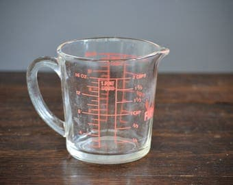 Fire King 2 Cup Clear Glass Measuring 498 16 ounce / Vintage Pint