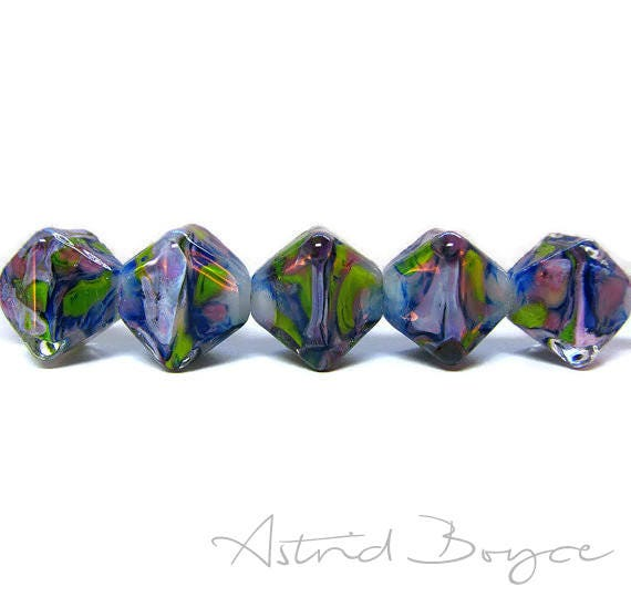 Lavender Fields - Free USA Shipping - Crystals -  Purple Green Greenery Artisan Lampwork Lamp Work Glass Bead Set - 14mm Crystal Clear Glass