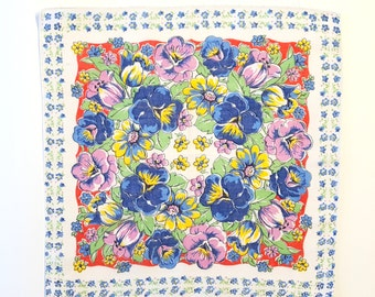 Vintage Spring Hanky with Purple and Navy  Pansies and Tulips Trimmed in Little Blue For-Get-Me Nots