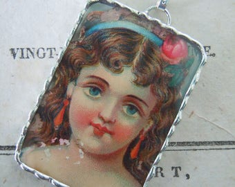 Fiona & The Fig - Original Victorian Diecut Scrap - Soldered Charm - Necklace - Pendant-Jewelry