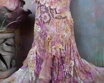 "20%OFF wedding dress, bridal, gypsy wedding, fantasy, fairy, angel, stevie nicks, lace, tattered, shabby dress, medium to 42"" bust..."