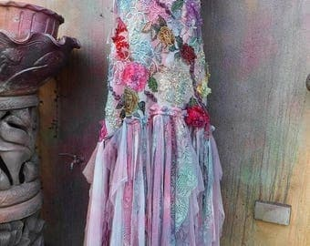 20%OFF vintage inspired shabby bohemian gypsy dress ..small to 38'' chest