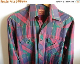 Vintage/ Rustler/ Red/ Western/ Cowboy/ Men's/ Shirt Vintage Fashion/Marsala MEDIUM