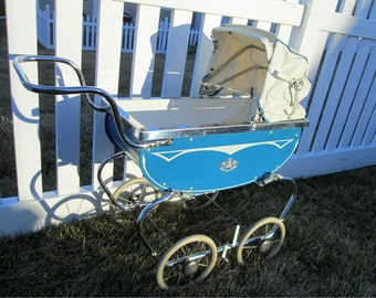 Vintage Baby Carriage - Coronet Baby Buggy Doll Pram - Rubber Tires, Gorgeous Chrome, & Blue Coronet Carriage - EXCELLENT Stroller Rocker