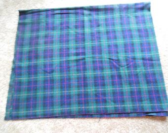 Large Wool Fabric Piece, Tartan Plaid Fabric