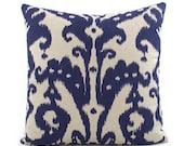 Indigo Blue Ikat Batik Pillow Cover 18x18, 20x20, 24x24 Euro or Lumbar, Blue Throw Pillow Cushion Cover, Accent Pillow, Lacefield Marrakesh