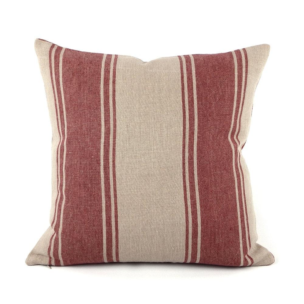 Ralph Lauren Striped Throw Pillow Cover 18x18 Red Linen
