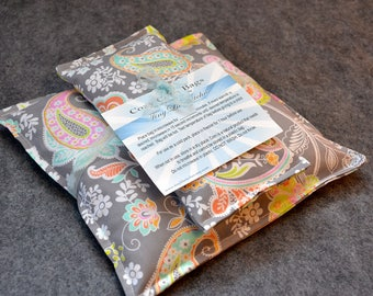 Corn Heating Pad Set, Microwave Heat Pack, Cold Pack, Corn Bag Microwavable, Pain Relief -- Paisley Perfect Gift Set