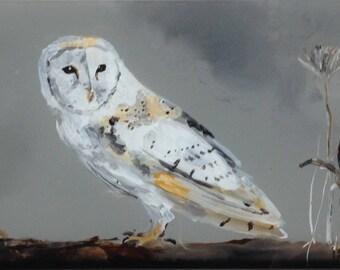 Barn owl, reverse painted on glass, framed